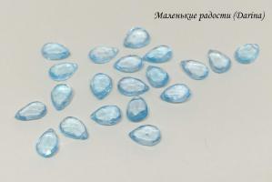 Топаз голубой, граненый панделок, 10+- мм, пара
