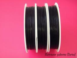 Тросик ювелирный, черный, 0,35 мм, 1 м