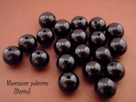 Турмалин, черный, гладкий шар, 12 мм