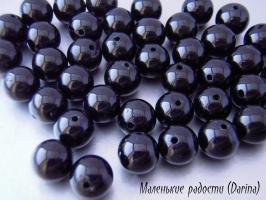 Бусина Турмалин черный гладкий шар 8,5 мм