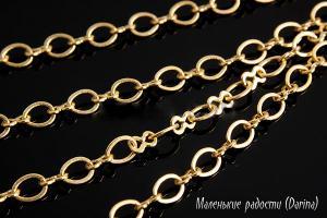 Цепочка, латунь, Gold Plated, 4х2,8 и 3,5х2 мм, 10 см