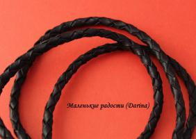 Шнур, кожанный, плетенный, черный, 6 мм, за 10 см