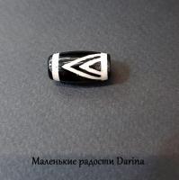 Бусина Агат дзи Горный пик черно-бежевый гладкий бочонок 19х10+- мм
