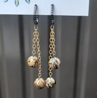Серьги Яшма чохуа коричневая 7,3 см