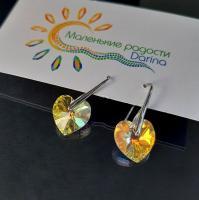 Серьги Swarovski Сердце золотистое 3 см