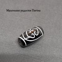 Бусина Агат дзи 2 сердца Будды черно-белый гладкий бочонок 19х10+- мм