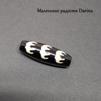 Бусина Агат дзи 5 летучих мышей черно-бежевый гладкий бочонок 19х10+- мм