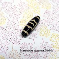 Бусина Агат дзи Птица Рух черно-бежевый гладкий бочонок 30х10+- мм