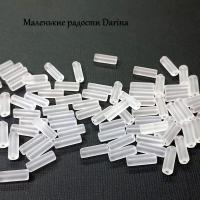 Бусина Стекло белый гладкая матовая трубочка 13х4,5+- мм