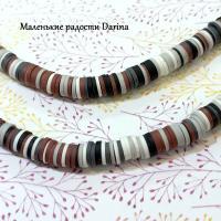 Бусина Каучук черно-бело-бордовый гладкий рондель 6х1 мм