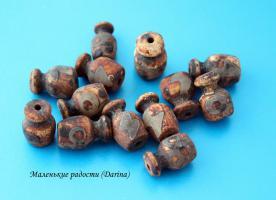 Бусина Агат дзи Гаруда коричневый 20х14 мм