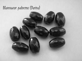 Бусина Агат (халцедон) черный граненый бочонок 12х8+- мм