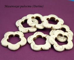 Бусина Говлит белый цветок 33х4,5 мм