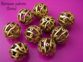 Бусина золотистый Пузырьки шар 15 мм
