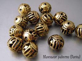 Бусина золотистый Скорпион шар 14 мм