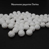 Бусина Коралл белый резной шар 10 мм