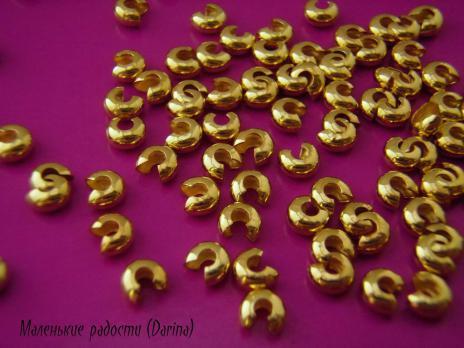 Бусина на кримп, золотистый, 6х4 мм, отверстие 1,5 мм, 10 шт.