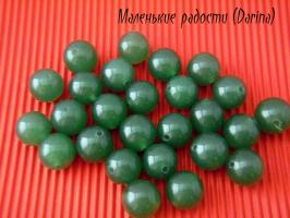 Бусина Нефрит пигментный зеленый гладкий шар 8,5 мм