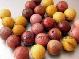 Бусина Яшма австралийская (мукаит) граненый шар 10 мм