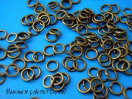 Колечки, бронзовый, одинарные, 0,6 мм, 10 шт.