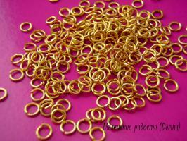 Колечки, золотистый, одинарные, 4 мм, 10 шт.