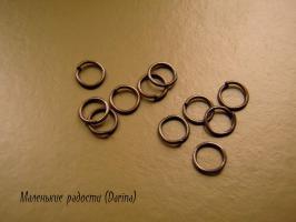 Колечки, медный, одинарные, 6 мм, 10 шт.