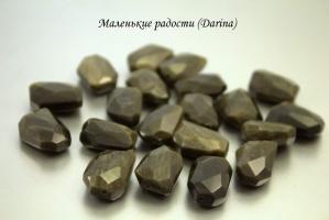 Бусина Обсидиан золотистый граненые кусочки 22-8,5+- мм