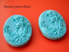 Смола, Камея, голубой, 35х28х11 мм