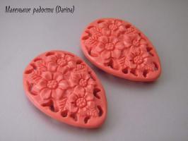 Смола, капля, розовый, 45х32х9 мм