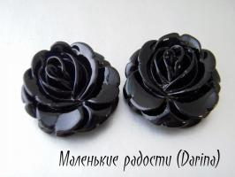 Смола, роза, черный, 33х32х11 мм